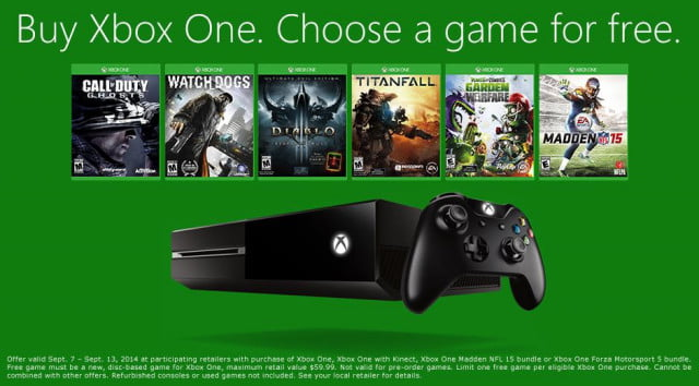get free game choice xbox one purchase limited time freebie deal