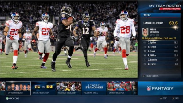 Xbox One NFL screen