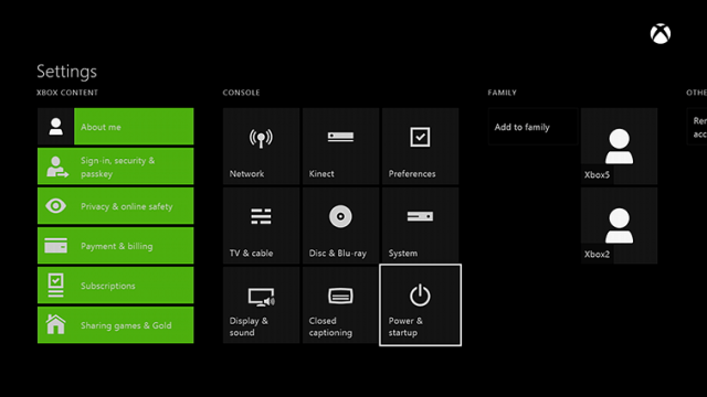 Xbox One Power & Settings