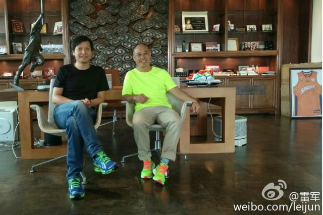 Xiaomi CEO Lei Jun with Li Ning, wearing the new Smart sneakers.