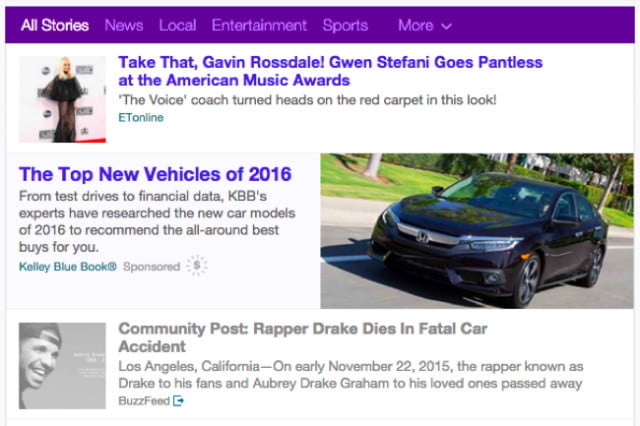 The fake news about Drake's death ended up being picked up by Yahoo, which appeared on its front page.