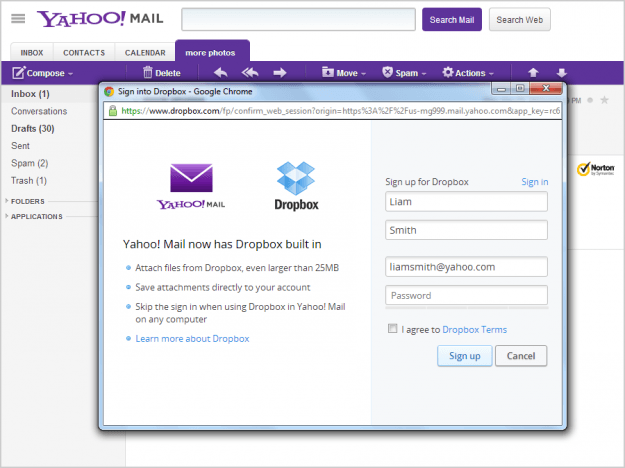 yahoo mail dropbox partnership