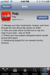 Yelp Amercia iOS screencap