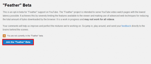 YouTube Feather Beta Signup