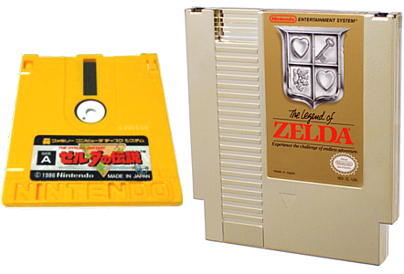 The Japanese disk of The Legend of Zelda, and the U.S. cartridge