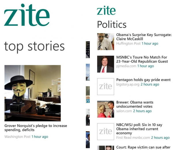 zite screenshot magazine