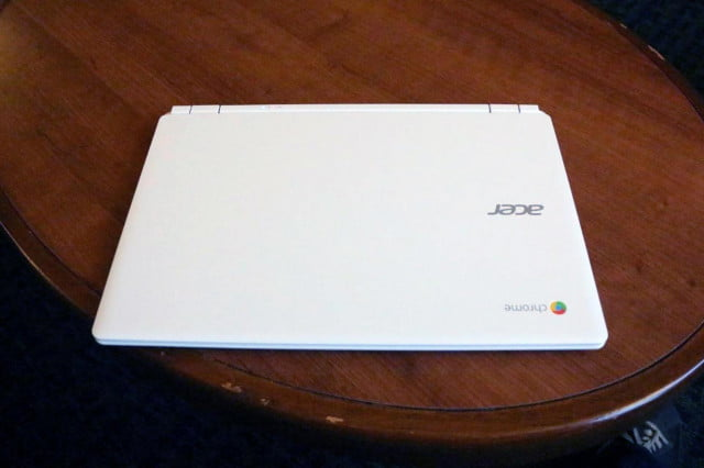 The side of the Acer Chromebook 13's lid wears a Chrome an Acer logo.