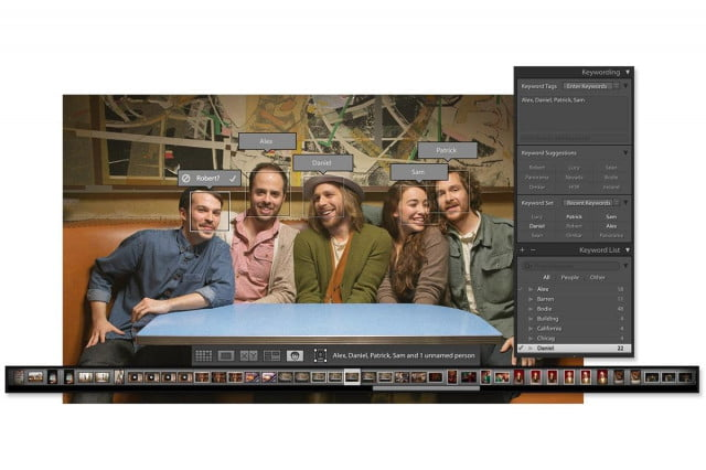 Facial recognition added to Lightroom CC.