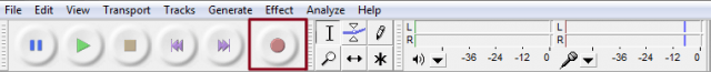 Audacity toolbar one