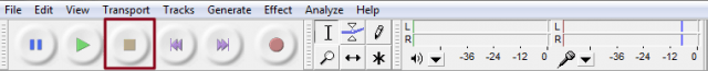 Audacity toolbar two