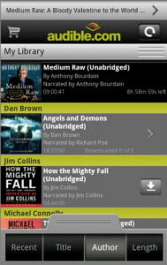 audible for android screenshot kindle app