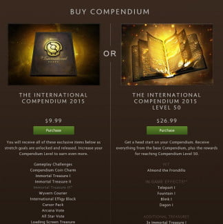 Not only can people buy Compendiums, but they can pay to 'level' them up too.