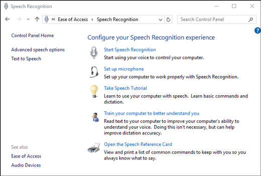 Configure speech recognition Windows 10
