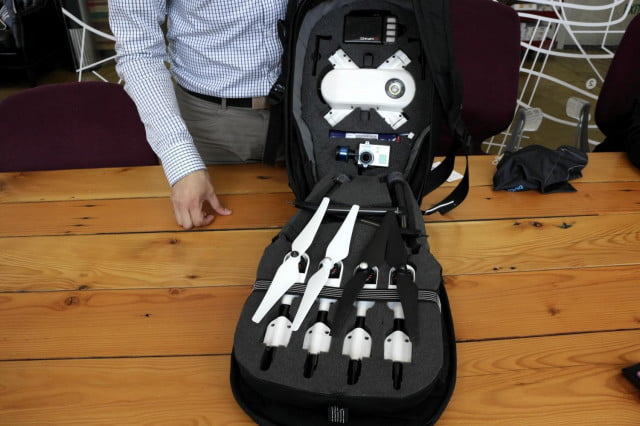 The PlexiDrone has an optional PlexiPack hard-shell backpack that lets you easily stow and transport the drone.