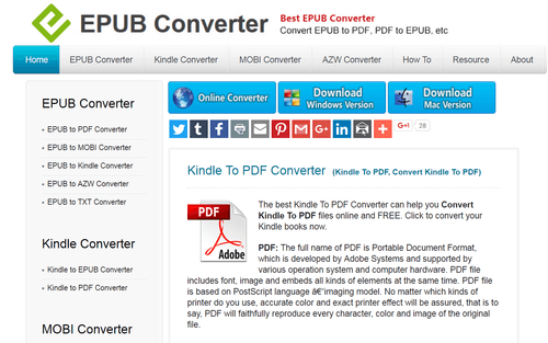 convert kindle to pdf free online
