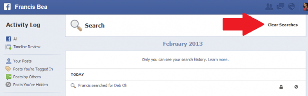 facebook activity clear searches