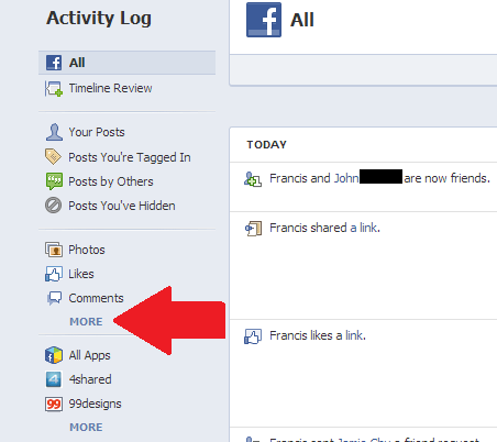 Facebook activity log more