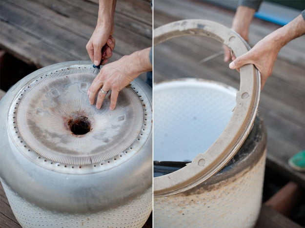 how to turn an old washing machine drum into a fire pit digital trends. Black Bedroom Furniture Sets. Home Design Ideas