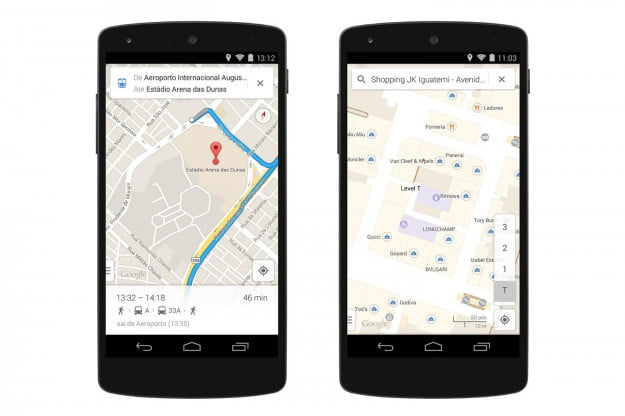 Google Maps Mobile offers turn-by-turn directions for the 12 World Cup host cities in Brazil (left), as well as indoor maps for each venue, airports, and shopping malls (right).