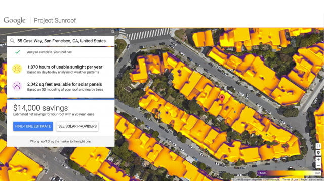 Google Project Sunroof shows how much solar juice is on your roof, no math needed