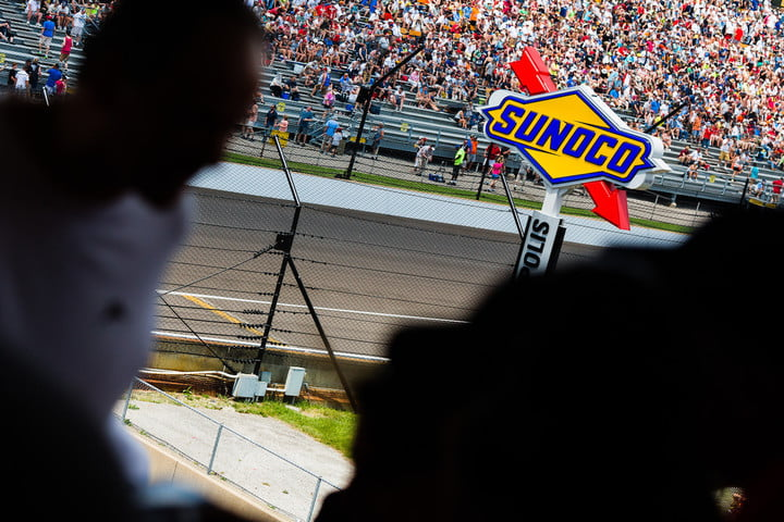 The iconic Sunoco fuel sign at the beginning of the front straight-away at Indianapolis Motor Speedway.