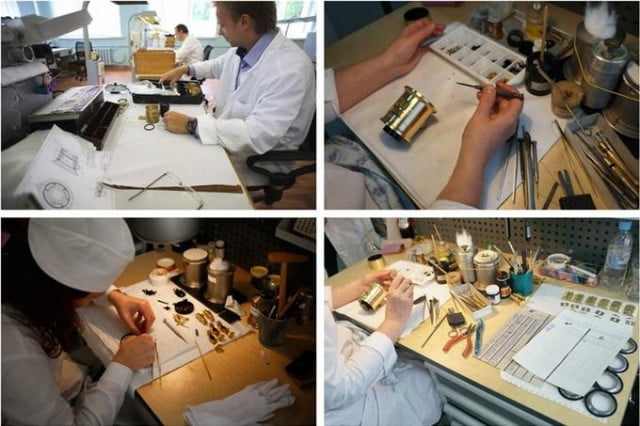Technicians at the Zenit Labs in Russia, where the New Petzval 58 is made.