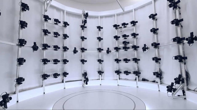 Panasonic created a 3D photo booth at its corporate headquarters showroom in Osaka, Japan, using 120 Lumix GH4 cameras in a cylindrical array.