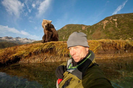 Paul Souders snaps a selfie with a female grizzly