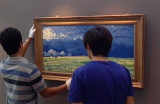 The Van Gogh Museum in the Netherlands worked with Fujifilm on the Relievo project, which recreated Van Gogh's paintings digitally. Here, a Relievo duplicate is being installed for a show in Hong Kong.