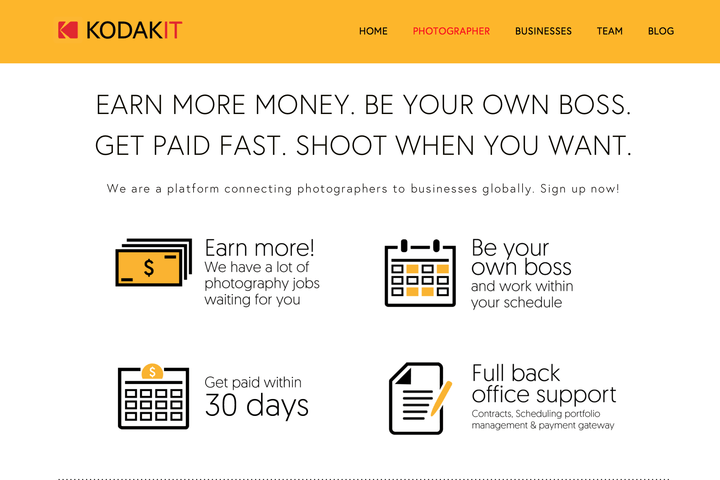 Want more gigs? Kodak's new online, on-demand photography platform could help