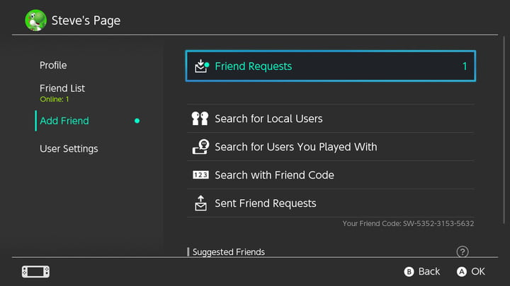 how to connect with friends nintendo switch steve s page request