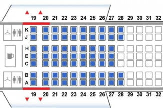 This map of a United Boeing 767 is configured in a 2-3-2 arrangement. Opt for the two seats on the sides.