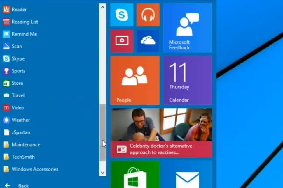 Desktop and Metro apps are lumped together in the Start menu.