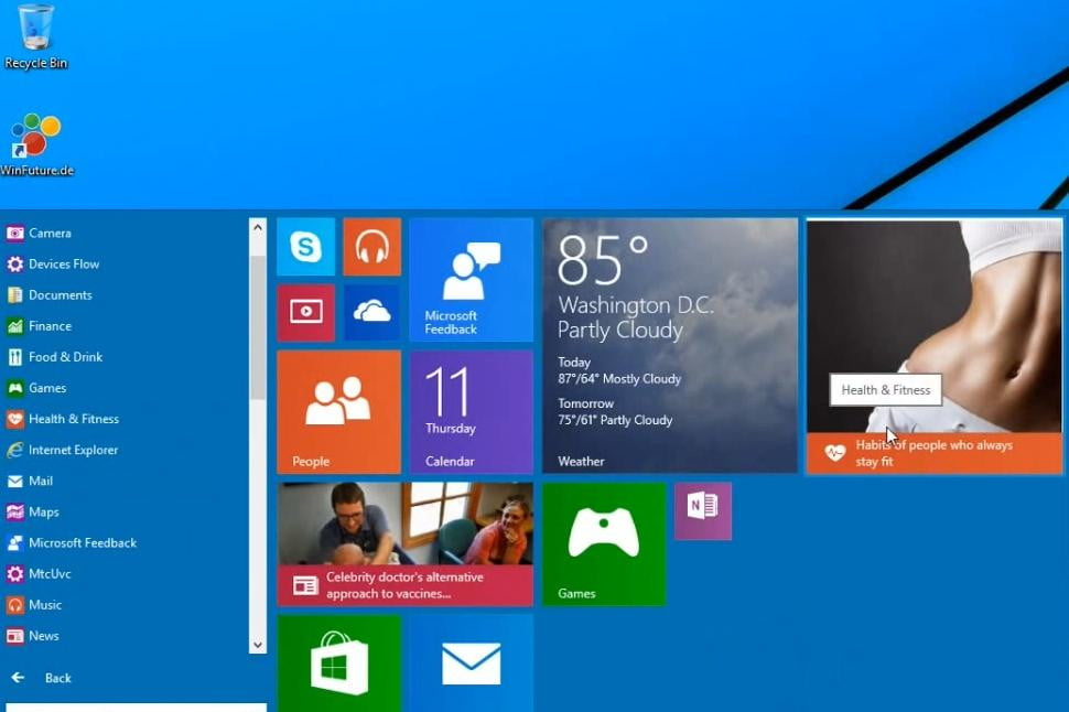 The Start menu stretches out pretty wide if need be.